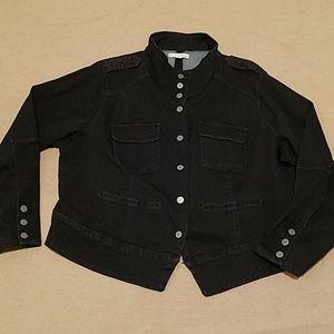 EUC Cato black denim military style jacket w/bling